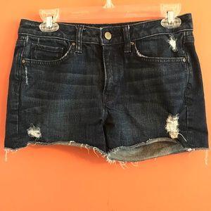 Denim ripped cut-off shorts